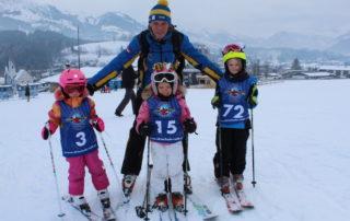 HUBSI ist bei den Skikursen bei den Kids stets dabei ...