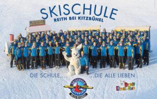 Mit viel Erfahrung, Freude und Kompetenz sind die Skilehrer der Skischule Reith bei Kitzbühel mit ihren Skigästen auf den Pisten unterwegs
